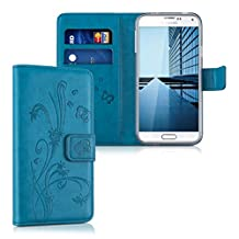 kwmobile Chic synthetic leather case for the Samsung Galaxy S5 / S5 Neo / S5 LTE+ / S5 Duos with convenient stand function - Design tendril butterfly in dark blue