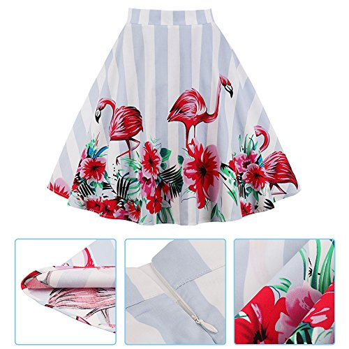 (Women's Flower Print A-Shaped Flare Skirt Flamingo Striped Pleated)