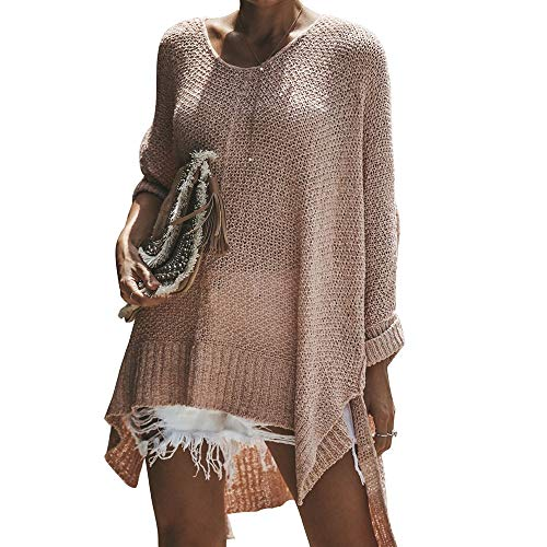 (Exlura Women's Off Shoulder Casual V Neck Sheer Loose Oversized Pullover Sweater High Low Knitted Jumper Pink)