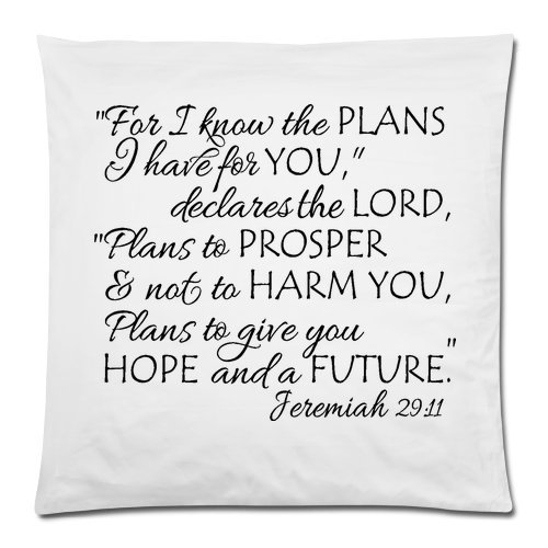 Bible Verse – Jeremiah 29:11 For I Know The Plans I Have For You Cushion Case – Square Pillowcase Cushion Case Throw Pillow Cover with Invisible Zipper Closure – 18×18 inches, One-sided Print