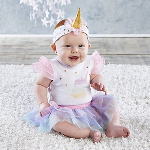 Baby Aspen, My First Unicorn Outfit with Headband, Baby Onesie, 0-6 Months