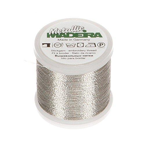 Madeira 9842-04 Metallic Nylon/Polyester Embroidery Thread, 40wt/220 yd, Silver
