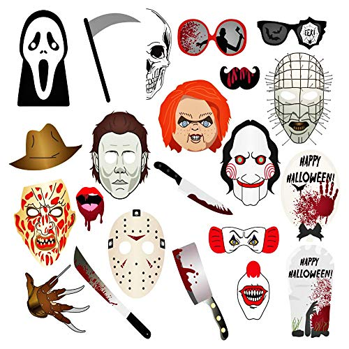 Halloween Photo Booth Props - Creepy Zombie/Vampire/Trick or Treat Party Supplies Decorations]()