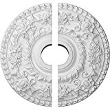 """Ekena Millwork CM18RO2 18""""OD x 3 1/2""""ID x 1 1/2""""P Rose Ceiling Medallion, Fits Canopies up to 7-1/4"""", 2 Piece"""