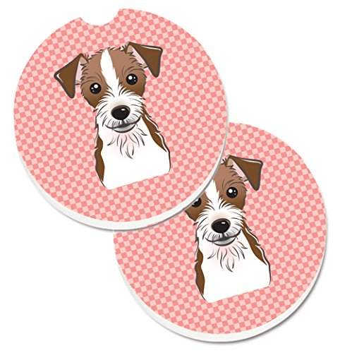 Jack Russell Terrier Coaster - Caroline's Treasures Checkerboard Pink Jack Russell Terrier Set of 2 Cup Holder Car Coasters BB1202CARC, 2.56, Multicolor