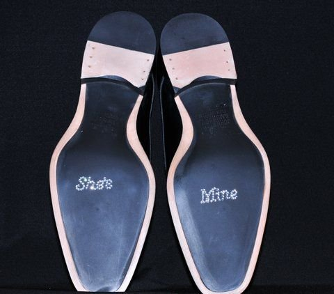 Unik Occasions Crystal Rhinestone Wedding She's Mine Shoe Applique Stickers for Men, Clear