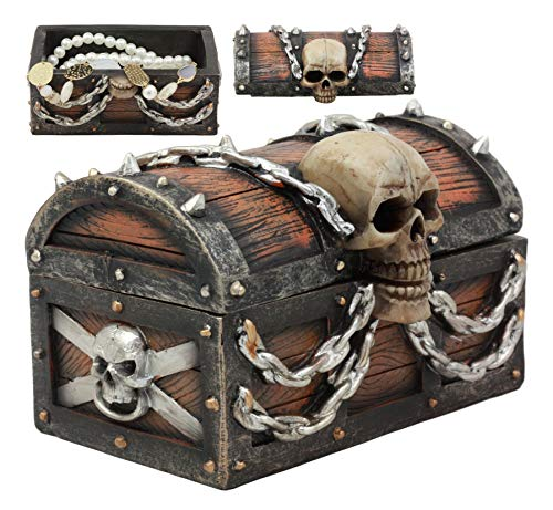 Ebros Evil Chained Skull On Pirate Treasure Chest Jewelry Box Figurine Halloween Gothic Decorative Keepsake Accessory Sculpture With Hidden Compartment 6