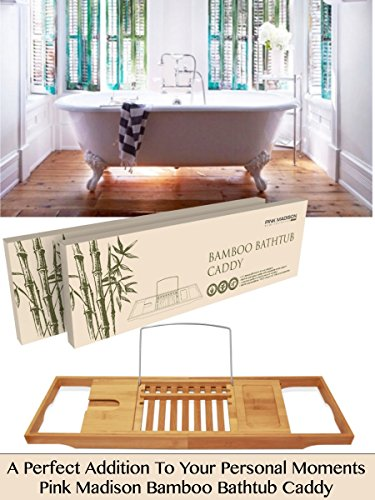BEST GIFT - Bamboo Bathtub Caddy Tray Best Rated Gift Built in Book Wine Holder