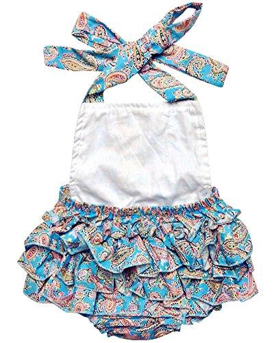 DQdq Baby Girls Wave Striped Print Ruffles Romper Summer Dress