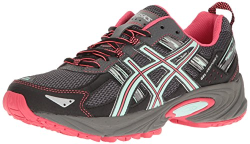 ASICS Women's Gel-Venture 5 Trail Runner, Carbon/Diva Pink/Bay, 8 M US - Sole Sneaker Cup