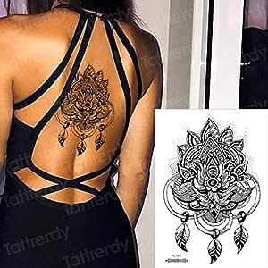 Handaxian 3 Piezas Tatuaje Trasero Impermeable Flor púrpura ...