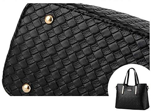 Shoulder Leather Purse 3 Vincico174;Women Pu Piece Black Tote Bags Weave Bag Handbag 8wq7pZ