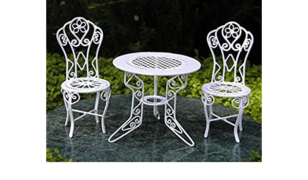 Amazon.com : Miniature Dollhouse Fairy Garden Furniture White Wire ...