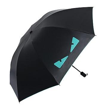 WJCGX Creative Gato Cara Negro Paraguas ProteccióN UV Sombrilla Mini Negro PláStico Sol Paraguas , Green