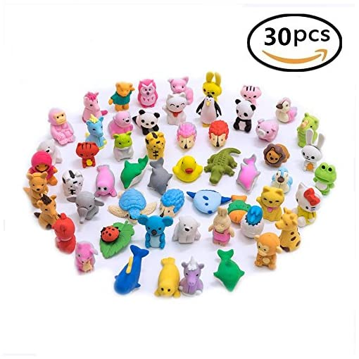 30PCS Pencil Erasers Zoo Animal Assorted Anima Erasers Puzzle Erasers Collectible for Party Favors Games Prizes Carnivals and School Supplies Best Gifts Party Gifts-By LW Funny Toys