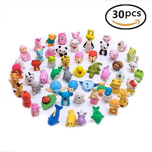 30PCS-Pencil-Erasers-Zoo-Animal-Assorted-Anima-Erasers-Puzzle-Erasers-Collectible-for-Party-Favors-Games-Prizes-Carnivals-and-School-Supplies-Best-Gifts-Party-Gifts-By-LW-Funny-Toys