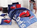 Bekata 100% Cotton Cars Bedding Set for Kids Quilt/Duvet Cover Set with Fitted Sheet, Boy's Bedding Linens, Blue Red, Single/Twin Size, COMFORTER INCLUDED (4 PCS)