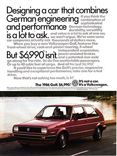 - 1986 VW Golf Red Volkswagen-Cost $6,990- Original Magazine Ad-Beetle-Bug 2 Door