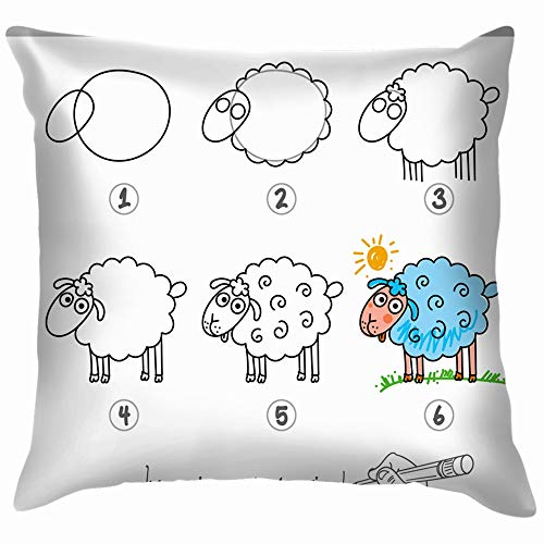 Drawing Tutorial Step by Animals Wildlife Draw Education Cotton Throw Pillow Case Cushion Cover Home Office Decorative, Square 18X18 Inch]()