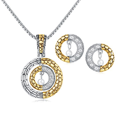 (UNY Classic 2 Tone Plated Dots Circle Unique Design Crystal Earring Enhancer Pendant Necklace Hardy Fashion Jewelry Set)