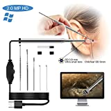 USB Otoscope Ear Cleaning Endoscope Camera 3.9mm Small Lens 720P HD 2.0 Mega Pixel Borescope Inspection Camera Otoscope Visual Earpick Tool with 6 Adjustable Led Compatible for Windows & MAC/PC