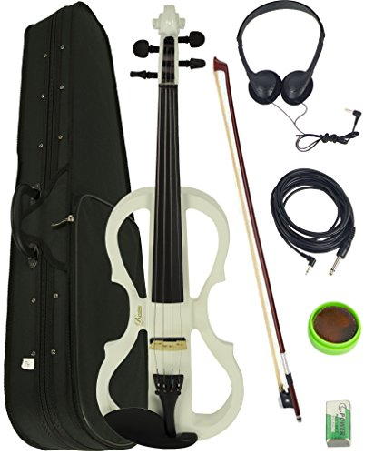 Barcelona 4/4-Size Electric Violin - White Bundle with Case, Bow, Rosin, Headphones, Cable, Battery by Barcelona