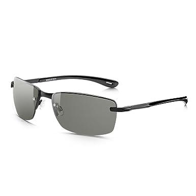 dcabd52e2c Sunglass Junkie Mens Black Rimless Sport Sunglasses. Cool Semi-Wrap Matt  Metal Frame With