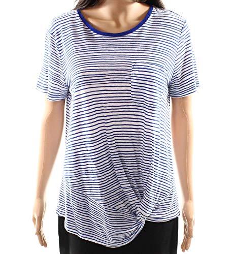 (LAUREN RALPH LAUREN Womens Linen Striped T-Shirt White M)