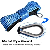 """Yoursme Nylon Synthetic Winch Cable Rope with Sheath for SUV ATV UTV Winches Truck Boat Ramsey Car Blue (1/4"""" x 50'-7500LB+)"""