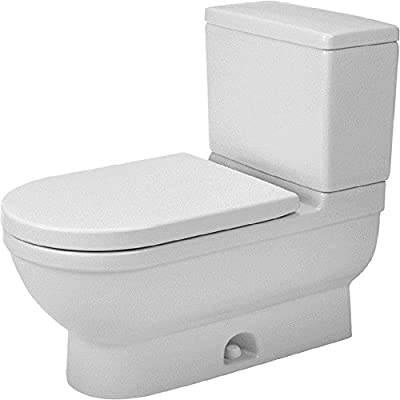 Duravit 2125010000 1.28 GPF Elongated Starck 3 Two-Piece Toilet Bowl, White