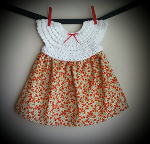 Strawberry print cotton handmade baby dress size 12 months -ready to ship -free 12mo Free Ship