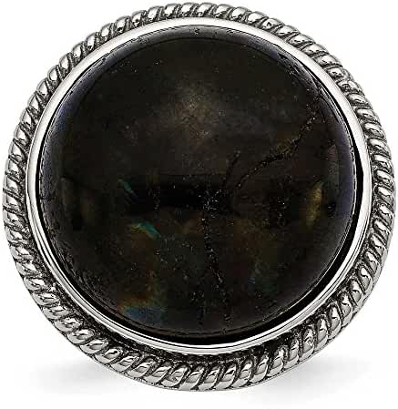Chisel Stainless Steel Polished Labradorite Textured Ring