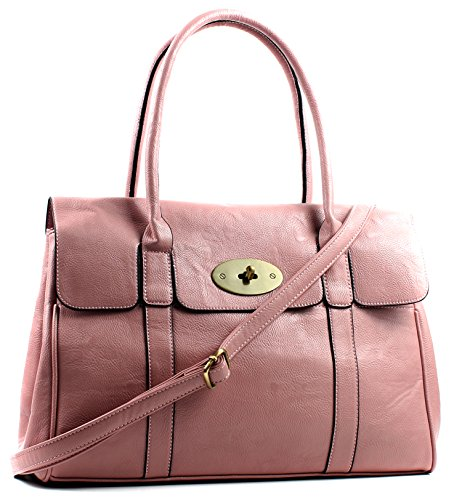 Large Pink Shoulder Turnlock Light Leather Bag Aossta Faux Handbag pwqR8AZ