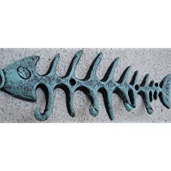 Nautical Coastal Fish Bones Cast Iron Wall Hook Peg Decor Teal Black