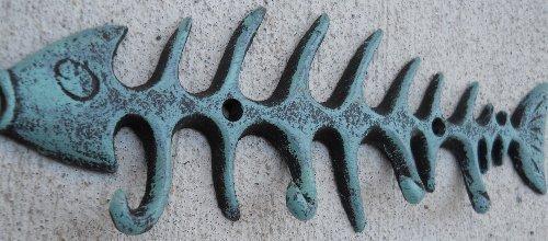 Nautical Coastal Fish Bones Cast Iron Wall Hook Peg Decor Teal Black
