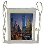 Ambesonne Landscape Drawstring Backpack, Chicago River Scenery, Sackpack Bag