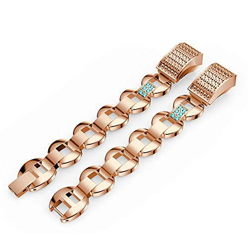 Metal Bands for Fitbit Alta/Fitbit Alta HR Replacement Stainless Steel Bands with Bling Rhinestone Wristband Straps for Fitbit Alta/Alta HR (Rose Gold+Blue Rhinestone) by Hero Iand (Image #1)
