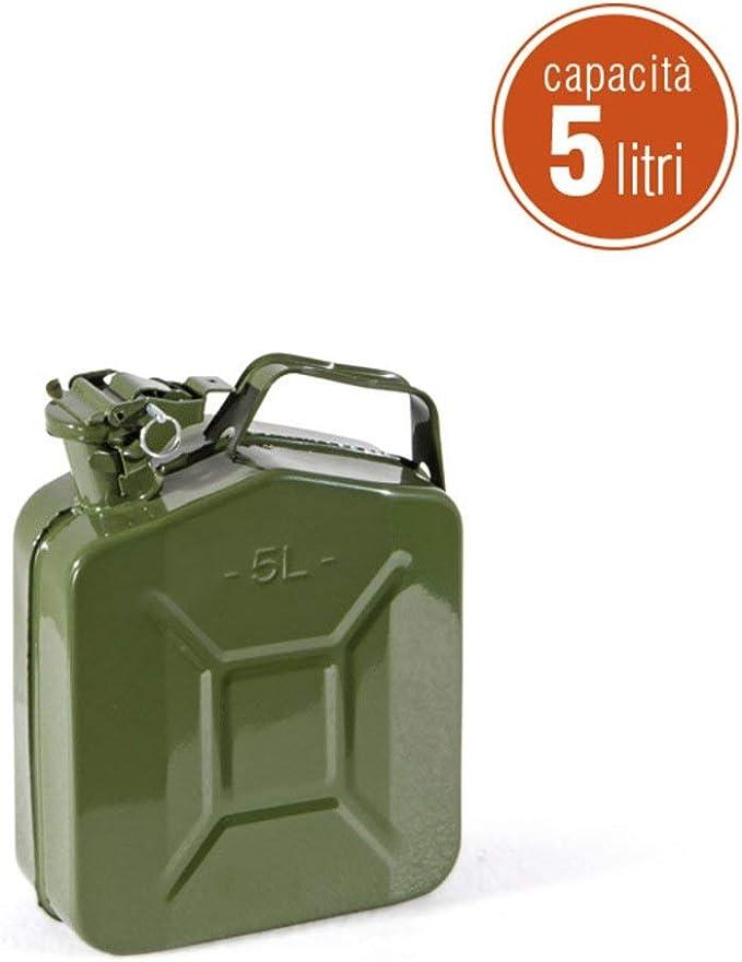 20 Lt con Beccuccio EGLEMTEK Tanica in Metallo per Carburante Benzina Omologata Un con Chiusura Ermetica