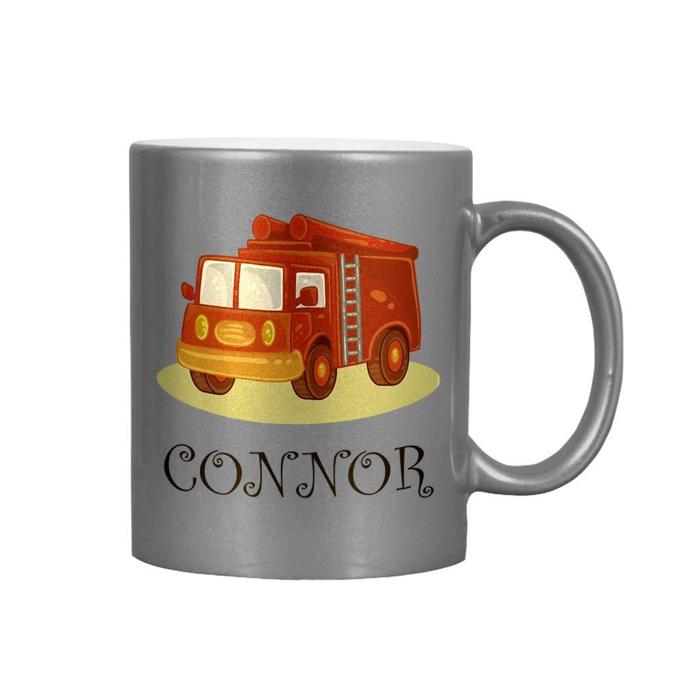 Personalized Custom Text Future Fire Fighter Truck Kids Ceramic Coffee Cup Metallic Mug - Silver