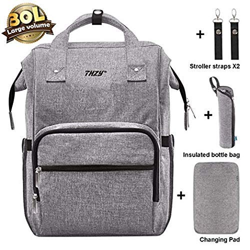 Diaper Bag Backpack, THZY Multi-Function Waterproof Maternity Nappy Bags for Boys/Girls - Large Capacity Organizer, Durable and Stylish, Gray ()