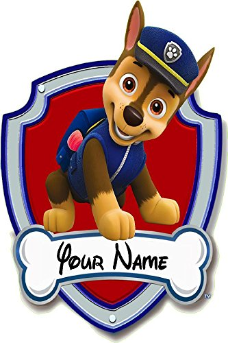 Paw patrol, Chase shield your name 3D Wall Decal Sticker giant 18