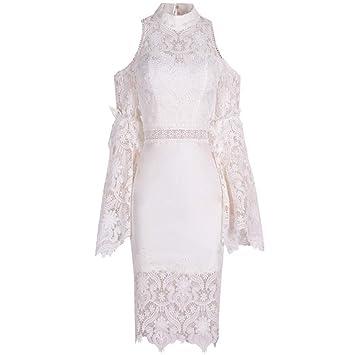 BINGQZ Mujeres Vestido Coctel Vestido de Encaje Mujer Nueva Blanco ...