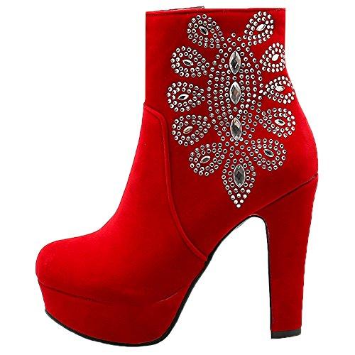 HooH Mujer Botines Bling Diamante de imitación Plataforma Tacón alto Botas Rojo