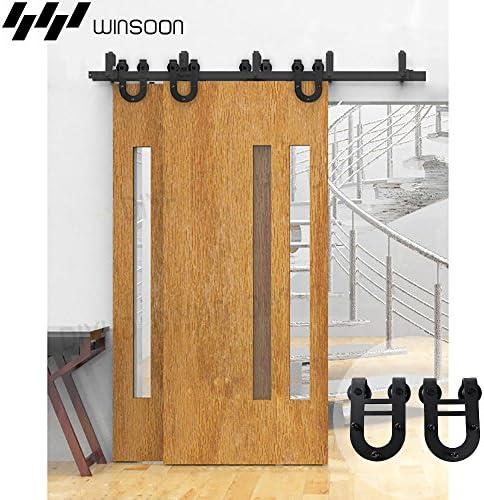 winsoon Bypass puerta corrediza de granero madera Hardware armario de interior soporte negro herradura rústico pista Kit para doble puerta: Amazon.es: Bricolaje y herramientas