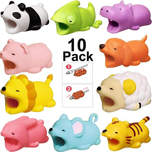 Cute Animal Charger Cable Protector, AIKIN Cable Bite Protector for iPhone iPad Samsung Cable Cord Data Line Cell Phone Accessory USB Charger Earphone (10 Packs Land Animal 2)