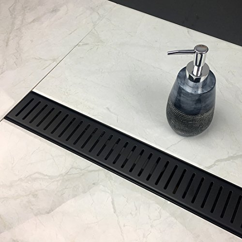 Linear Shower Drain With Removable VERTI LINE PATTERN Grate, 24 Inch,  Brushed