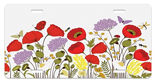 Lunarable Spring License Plate, Wild Flowers Field Medley Poppy Chamomile Hydrangea Gypsophila Butterfly Lady Bugs, High Gloss Aluminum Novelty Plate, 5.88 L X 11.88 W Inches, Multicolor