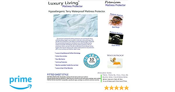 Amazon.com: Royal Hotel Premium Hypoallergenic Breathable Mattress Protector, Waterproof MATTRESS PROTECTOR, Bed Bug proof, dust mites proof, Fitted style ...