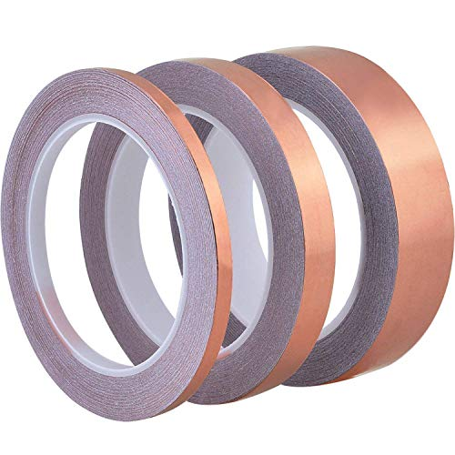 Conductive Copper Foil Tape 22 Yards for EMI Shielding, Stained Glass, Art Work, Soldering, Electrical Repairs, Grounding, 3 Pieces (6 mm, 13 mm, 25 mm) ()