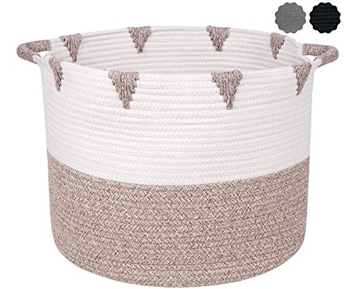 We Care Vida Storage Baskets – Decorative Blanket basket for Living Room 17,3 W x 13,8 H Made from Natural Cotton Woven Rope Gold